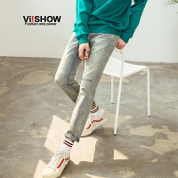 VIISHOW2018新款牛仔裤男复古水洗韩版修身长裤直筒春季男式裤子