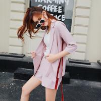 洋气短裤套装夏春夏新款飘带西装薄外套阔腿裤休闲裤时髦两件套女 粉红色