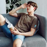 [1件2.5折价41.2元]唐狮t恤男短袖新款圆领纯色衣服修身韩版夏季男装