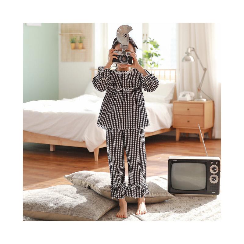 儿童睡衣女春秋季薄款纯棉女大童田园格子花边长袖家居服宝宝套装 发货周期:一般在付款后2-90天左右发货,具体发货时间请以与客服协商的时间为准