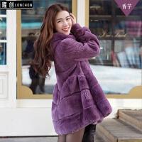 獭兔皮草整皮獭兔毛绒2017冬季新款中长款韩版女装外套东北皮草