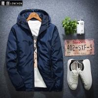 冬装男士薄棉衣夹克时尚短款大码青年学生运动薄棉袄外套 纯色蓝 601