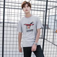 日系圆领男士短袖体恤卡通滑翔机印花打底衫T恤短袖潮