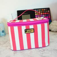 化妆包大容量洗漱收纳手提箱便携大号条纹方型桌面旅行可爱女SN1411
