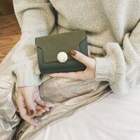 七夕礼物2018新款经典短款女士钱包时尚百搭磨砂软皮女包定制 绿色