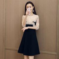 纯色镂空蕾丝连衣裙长袖中长款显瘦气质修身甜美市场百搭年春季