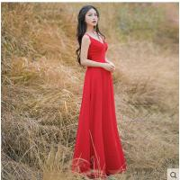 红色吊带V领雪纺长裙修身气质开叉大摆度假裙 休闲时尚长裙女性感连衣裙支持礼品卡支付