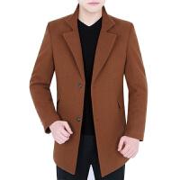冬季新款中长款毛呢大衣男装韩版休闲修身呢子中年爸爸装加厚外套 卡其 170/84A