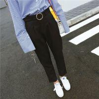 版夏季女装新款高腰牛仔裤子显瘦小脚哈伦裤白色七分裤子百搭