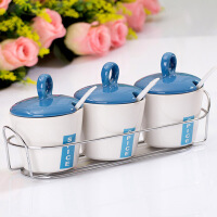 普润 南韩调味瓶蓝色调味瓶四件套 调味罐套装 陶瓷调味瓶
