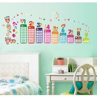 儿童房卡通墙贴 幼儿园 教室布置可移除墙贴纸九九乘法表