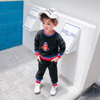 春秋新款童装男童卡通卫衣套装宝宝拼色时尚卫衣长袖儿童圆领套装