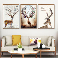 客厅装饰画现代简约大气三联画家居北欧ins挂画壁画沙发背景墙画 A款-富贵鹿 60x90整套 白色简框 拼套