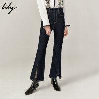 Lily2019秋新款女装复古修身个性开叉喇叭裤休闲牛仔长裤女5914