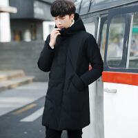 冬季新款羽绒服男中长款韩版修身连帽加厚男士纯色青年外套冬季潮 黑色 M