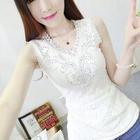 夏季新款韩版蕾丝背心女短款外穿宽肩吊带打底衫修身显瘦无袖上衣