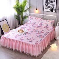 冰丝席床裙式凉席三件套夏季空调软席韩版蕾丝可水洗机洗可折叠席 粉 芳华