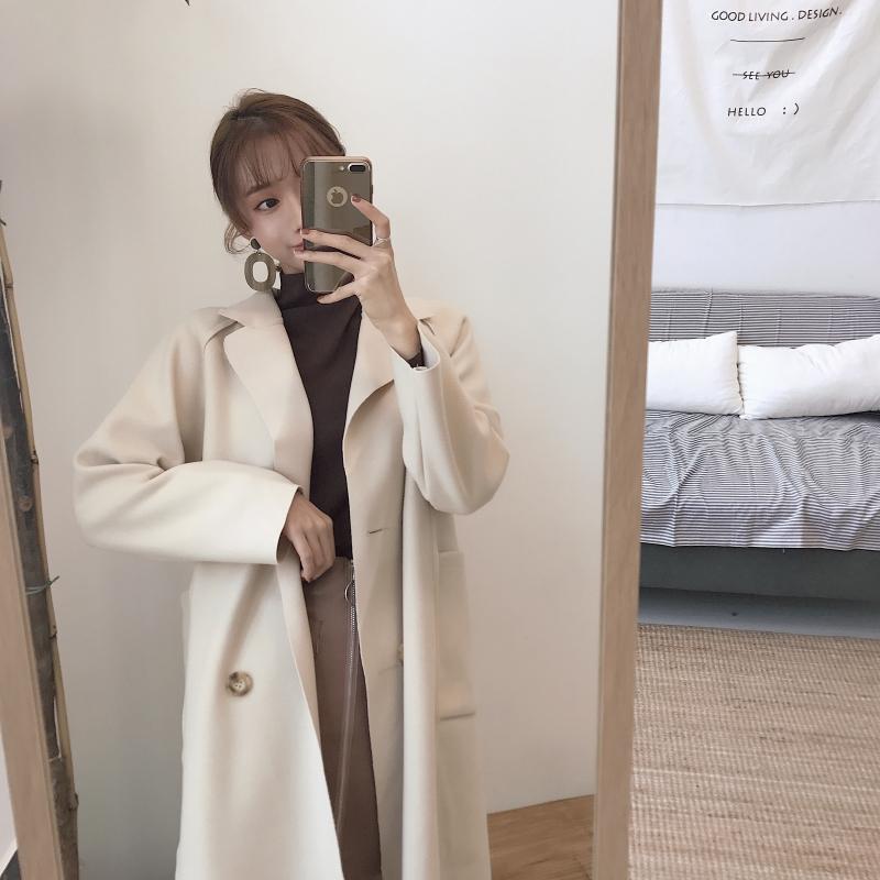韩国复古chic韩风时尚气质百搭长袖毛呢外套女中长款过膝呢子大衣 发货周期:一般在付款后2-90天左右发货,具体发货时间请以与客服协商的时间为准