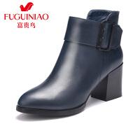 富贵鸟女靴 秋冬季新款短靴女英伦单靴粗跟高跟靴子马丁靴