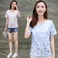 刺绣花棉麻短袖衬衫女装夏季新款韩版V领亚麻上衣潮