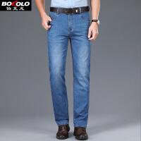 伯克龙 牛仔短裤男士五分裤 男装夏季薄款直筒弹力大码休闲牛仔裤子J3033