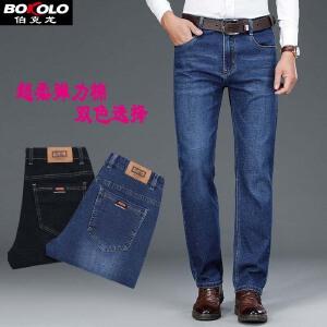 2件9折 3件8折 伯克龙 牛仔短裤男士五分裤 男装夏季薄款直筒弹力大码休闲牛仔裤子J3033