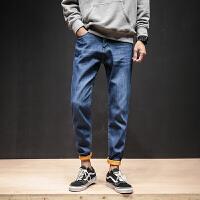 男士加绒牛仔裤秋冬季新款韩版修身型直筒弹力简约纯色男裤子休闲长裤