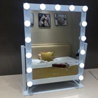 物有物语 实用摆件 大号台式带灯美容镜 方形LED灯泡镜子 便携公主镜美妆梳妆镜