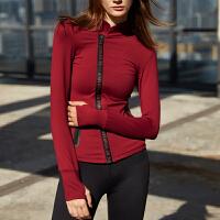 秋冬健身女瑜伽长袖 女子立领瑜伽服上衣运动紧身拉链开衫外套 X