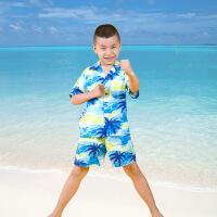 海南岛服儿童套装男女运动纯棉时尚衬衣+短裤三亚旅游上衣沙滩服