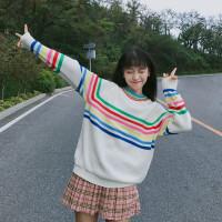 2018春装新款韩版秋冬可爱甜美彩虹条宽松长袖套头毛衣学生外套潮