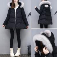2017冬装新款A字娃娃棉衣外套中长款领羽绒棉衣女装女 黑色 S