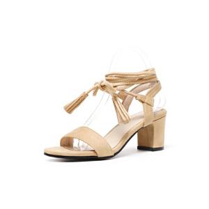 ELEISE美国艾蕾莎新品020-A42-1韩版磨绒高跟粗跟女士凉鞋