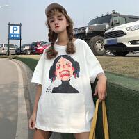 春夏女装韩版原宿风个性人物印花宽松百搭短袖T恤学生打底衫上衣