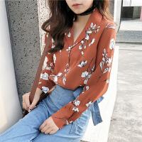 春季女装新款韩版复古印花雪纺衬衣气质百搭西服领长袖衬衫上衣潮