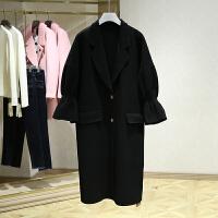 双面呢大衣女冬装新款 中长款过膝喇叭袖字母显瘦毛呢外套