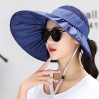 遮阳帽女户外防晒帽韩版大沿空顶帽太阳帽凉帽沙滩帽