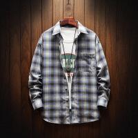 新款格子衬衫宽松男潮牌学生长袖休闲衬衣青少年男装外套寸衫