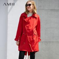 【券后价:489元】Amii极简时尚潮款90白鸭绒羽绒服女2019冬新休闲风衣中长款两件套