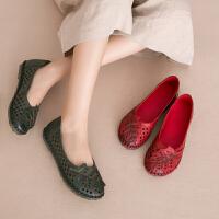 夏季手工洞洞鞋孕妇妈妈鞋软底舒适镂空女鞋平底复古包头凉鞋