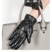 时尚大气女士触摸屏羊皮手套骑车防寒保暖一体式分指真皮手套 可礼品卡支付