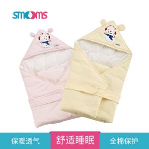 思萌SMOOMS婴儿抱被冬 新生儿纯棉盖毯 宝宝外出襁褓睡袋 幼儿防风包被