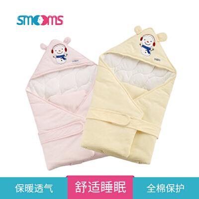 思萌SMOOMS婴儿抱被冬 新生儿纯棉盖毯 宝宝外出襁褓睡袋 幼儿防风包被绗缝纯棉扎实稳固保暖不闷热