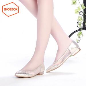 SHOEBOX/鞋柜 春秋尖头低跟水钻网纱拼接女鞋平底单鞋