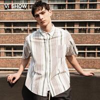 viishow夏装新款短袖衬衫 欧美竖条纹短袖衬衫男 纯棉衬衣潮