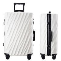 铝框拉杆箱万向轮26寸行李箱男女旅行箱24寸学生密码箱28寸20韩版 乳白色 拉丝防刮款1708