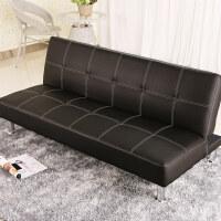 【品牌热卖】简约小户型懒人沙发可折叠躺椅双人办公室咖啡厅皮沙发床两用 pu皮 黑色 长179