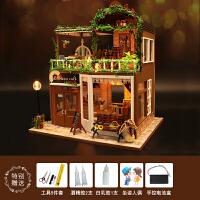 diy小屋手工制作拼装小房子模型别墅创意咖啡屋生日礼物女生