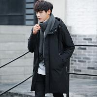 反季清仓男士韩版冬季中长款加厚羽绒服学生帅气连帽男装保暖外套 黑色