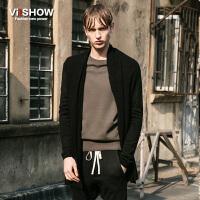 viishow春装新款针织外套 韩版时尚针织衫毛衣男 薄款外套黑